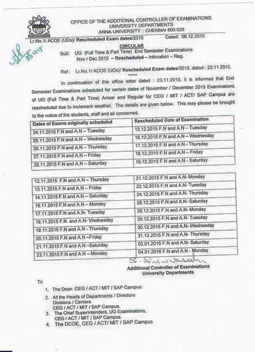 Anna University, anna university exams time table, anna university postponed exams, anna univ time table 2016, anna university exams reschedule time table