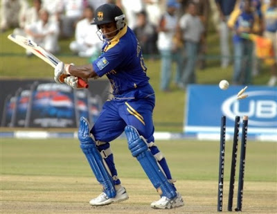 Sri Lanka's Sanath Jayasuriya is bowled by Pakistan's Rao Iftikhar, unseen, during the 3rd One Day International cricket match between Sri Lanka and Pakistan in Sheik Zayed Stadium, Abu Dhabi, United Arab Emirates, Tuesday, May 22, 2007. (AP Photo/Abdul Rahman)