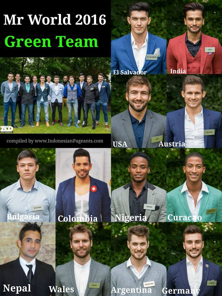 Mr World 2016 Greeen Team